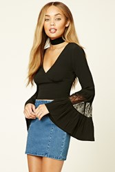 Forever 21 Lace Bell Sleeve Crop Top Black