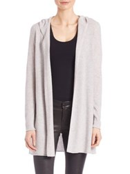 Saks Fifth Avenue Cashmere Hooded Cardigan Light Grey Black
