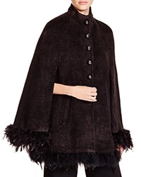 Nanette Lepore Starlight Feather Trim Cape Black