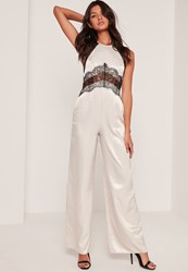 Missguided Silky Lace Insert Jumpsuit Cream Stone