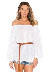 Essentiel Antwerp Leyonce Long Sleeve Off Shoulder Top White