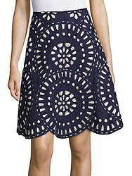 Kas Geometric Cutout Skirt Navy