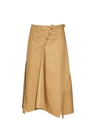Y's By Yohji Yamamoto Buttoned Front Flared Cotton Midi Skirt