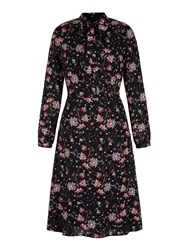 Yumi Retro Floral Midi Shirt Dress Black