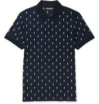 Neil Barrett Slim Fit Embroidered Cotton Pique Polo Shirt Blue