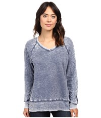 Allen Allen Long Sleeve Raglan Vee Tunic Blue Ink Women's Sweater