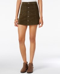 Celebrity Pink Juniors' Button Front Corduroy Mini Skirt Olive Night