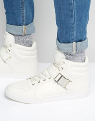 Asos Hi Top Trainers In White With Strap White
