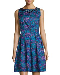 Chetta B Jacquard Sleeveless Fit And Flare Dress Mallard Sapphire