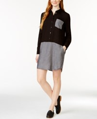 G.H. Bass And Co. Colorblocked Shirtdress Black