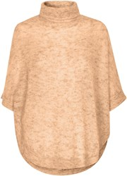 Soaked In Luxury Roll Neck Mohair Blend Poncho Beige