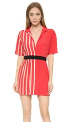 Ungaro Short Sleeve Dress Red White