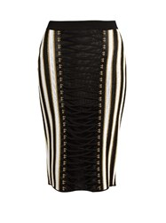 Balmain Lace Up Striped Lame Skirt Black Multi