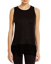 Red Haute Fringed Tank Black