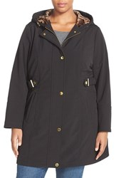 Plus Size Women's Via Spiga Hooded Soft Shell Coat With Animal Print Lining