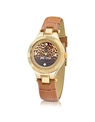 Just Cavalli Just Indie Stainless Steel Women's Watch W Brown Leather Strap Gold