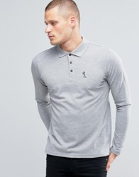 Religion Long Sleeve Pique Polo Grey Black Skel