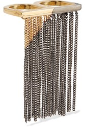 Maison Martin Margiela Mm6 Fringed Gold And Gunmetal Plated Two Finger Ring