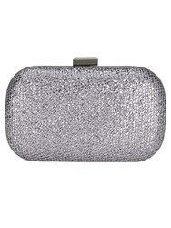 Phase Eight Lola Glitter Box Clutch Silver Metallic
