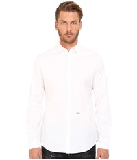 Dsquared Stretch Poplin Button Up Shirt White Men's Long Sleeve Button Up