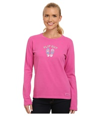 Life Is Good Crusher L S Tee Flip Out Beach Hot Fuchsia Women's Long Sleeve Pullover Pink