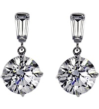 Carat Baguette 2Ct Round Drop Earrings White