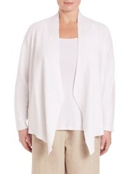 Eileen Fisher Plus Size Interlock Angle Front Cardigan White