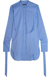 Ellery Melodrama Swiss Dot Cotton Blend Poplin Shirt Blue