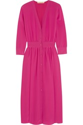 Vanessa Bruno Fossette Silk Crepe De Chine Midi Dress Fuchsia