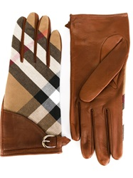 Burberry 'Haymarket' Print Gloves Nude And Neutrals