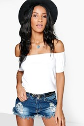 Boohoo Off The Shoulder Ruche Sleeve Crop Cream