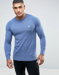 Abercrombie And Fitch Crew Jumper Icon Logo Fine Knit In Blue Blue