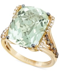 Le Vian Green Amethyst 9 3 4 Ct. T.W. White Diamond 1 8 Ct. T.W. And Chocolate Diamond 3 8 Ct. T.W. Ring In 14K Gold