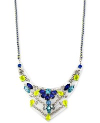 Inc International Concepts Inc Silver Tone Blue And Yellow Geometric Statement Necklace