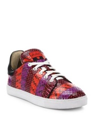 Isa Tapia Kelly Paneled Snakeskin Sneakers Red Blue