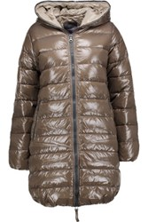 Duvetica Ace Quilted Shell Down Hooded Coat Mushroom