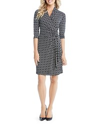 Karen Kane Graphic Cascade Faux Wrap Dress Black Off White