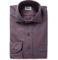 Drakes Checked Cotton Flannel Shirt Red