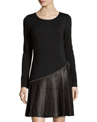 Neiman Marcus Pleated Faux Leather Long Sleeve Dress Black