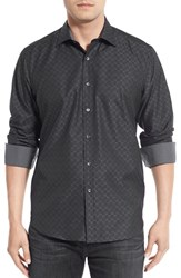 Bugatchi Men's Shaped Fit Solid Check Weave Sport Shirt