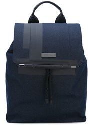 Emporio Armani Large Rectangular Backpack Blue