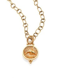 Temple St. Clair Tree Of Life Diamond And 18K Yellow Gold Dolphin Pendant