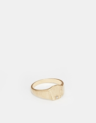 Asos Pinky Signet Ring With Star Gold