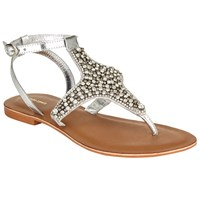 John Lewis Diamante Toe Post Sandals Silver