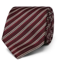 Dunhill 8Cm Striped Woven Mulberry Silk Tie Red