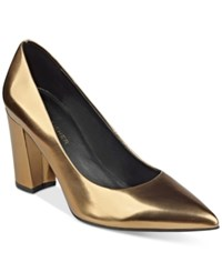 Marc Fisher Daniela Pointy Toe Block Heel Pumps Women's Shoes Gold