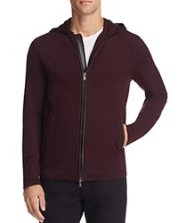 John Varvatos Star Usa Leather Trim Zip Front Hoodie Sweatshirt Port
