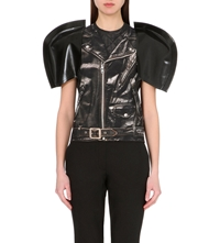 Junya Watanabe Jersey And Faux Leather Top Black