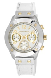 Vince Camuto Multifunction Leather Strap Watch 42Mm White Silver