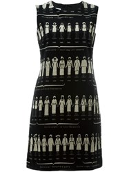 Moschino Vintage Velvet Print Dress Black